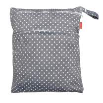 Damero Travel Wet and Dry Bag with Handle for Cloth Diaper, Pumping Parts, Clothes, Swimsuit and More, Easy to Grab and Go (Large, Gray Dots)