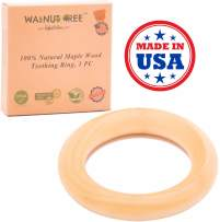 """Made in USA - First Organic Maple Montessori Wood Teether Ring 3"""", Treated with Organic Vegan Wax, Handcrafted Toy (1 Ring)"""