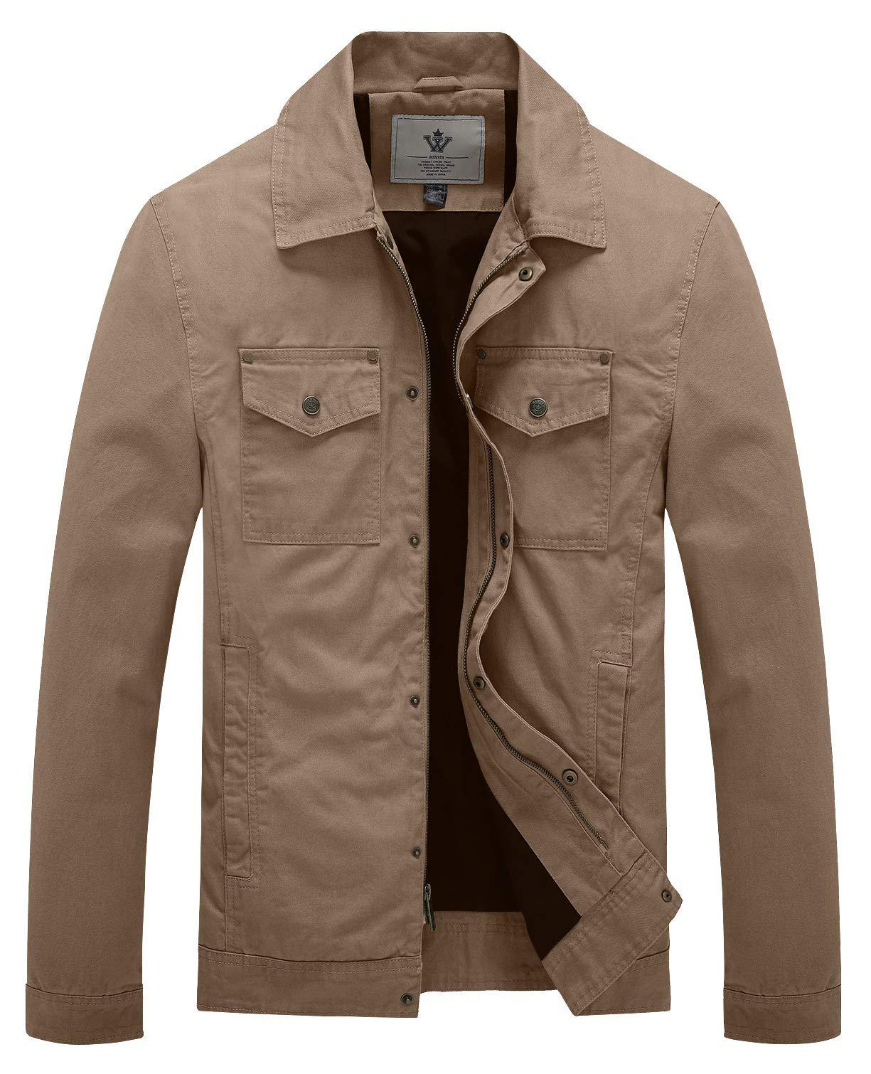 WenVen Men's Spring Military Canavas Cotton Lapel Jacket Windbreaker