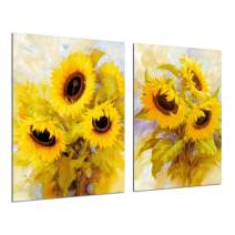 Sunflower Decor Canvas Wall Art - Abstract Oil Painting Yellow Floral Flowers Poster Giclee Print Pictures Bedroom Bathroom Ktichen Watercolor Artwork Office Home Decoration 2 Piece 12''x16'' Unframed