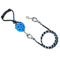 "Life Leash Interchangeable Dog Leash System – Heavy Duty 60"" Lead and Detachable 2-in-1 Light Up Squeaky Ball Toy Handle Combo – for Small, Medium, and Large Breeds"