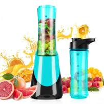 Personal Blender for Smoothies Shakes, Powerful 300W(24,000RMP) 4 Sharp Blades, Small Blender Single Serve with 20 oz Portable Sport Bottle, Blue