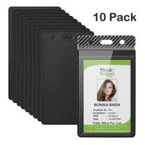"YoungRich 10 Pcs Heavy Duty ID Card Badge Holder Clear Vertical Vinyl PVC with Waterproof Type Resealable Zip Plastic Card Sleeve for Proximity Swipe Cards Credit Card Driver License 4.5""X2.5"" Black"