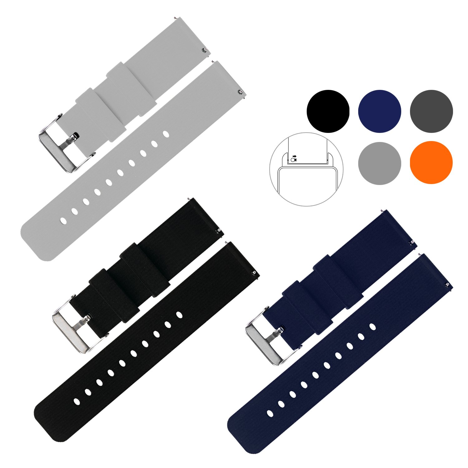 {New Arrival} Vetoo Quick Release Silicone Watch Bands, Choose Color and Width 18mm, 20mm, 22mm, 8 Colors Rubber Replacement Band Strap for Men Women