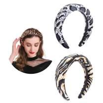 AWAYTR Velvet Padded Leopard Print Headband Large Padded Velvet Races Daily Party Headpiece for Women (Beige Snake + Grey Leopard)