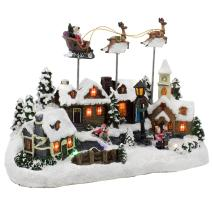 Kurt Adler Battery Operated Musical LED Village with Santa and Deer, 11-Inch