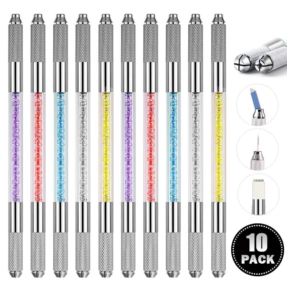 Microblading Pen 10 Pcs Professional Dual-head Manual Tattoo Fog Eyebrow Micro blading Pen Needle Tip Holder Tool For Permanent Makeup Supplies Acrylic Pen With Lock Pin Tech & Ergonomic Grip