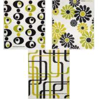 Mixed Modern Pattern Set of 3 Swedish Dishcloths (One of Each Design) | ECO Friendly Absorbent Cleaning Cloth | Reusable Cleaning Wipes
