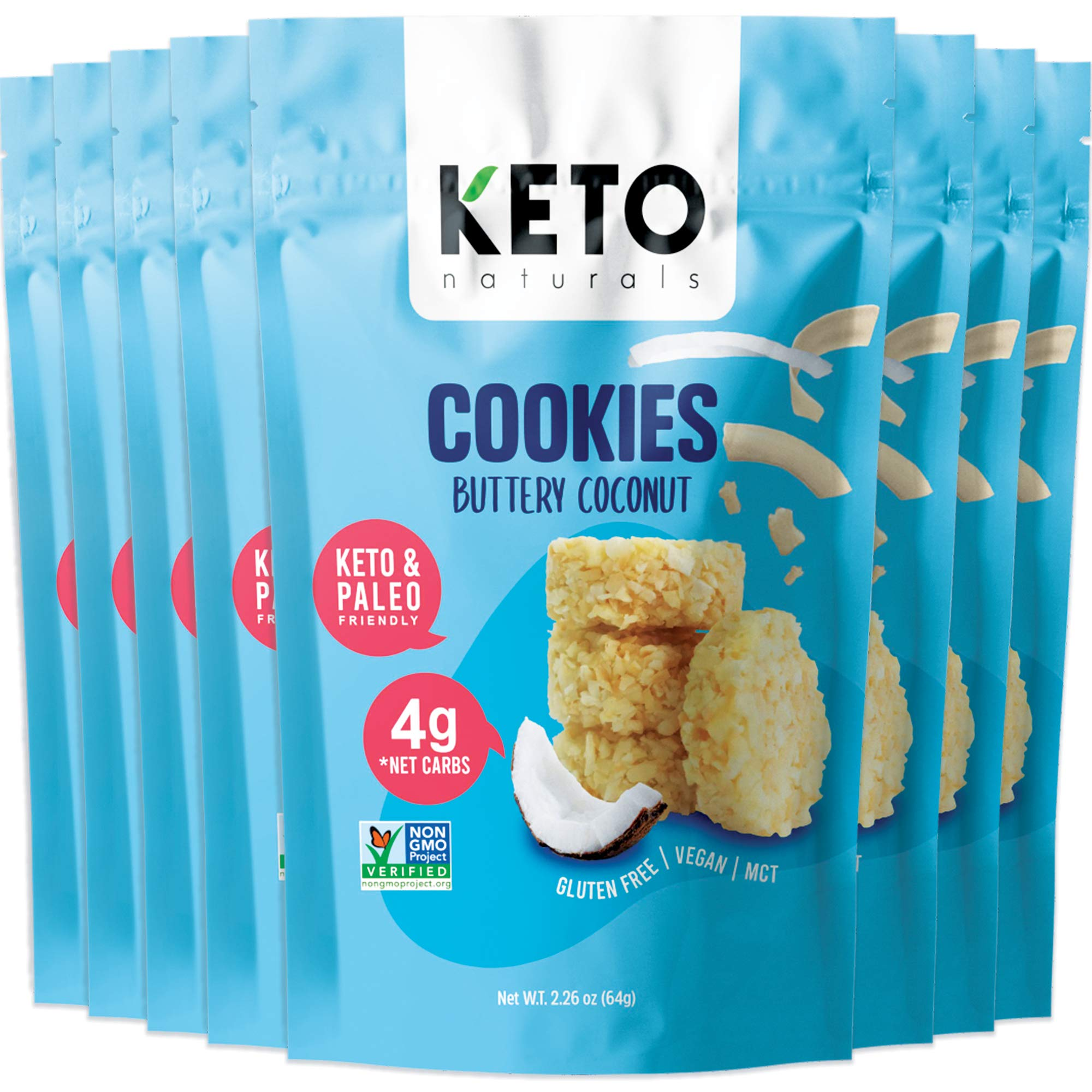 Keto Cookies Buttery Coconut, Healthy Snacks, Keto Friendly, Gluten Free, Low Carb, Healthy Snack - Sweet, Diet Friendly Dessert – Ketogenic Food with Natural Ingredients, Pack of 8 x 2.25 oz Bags.