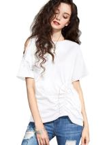 Artka Women's One Side Cold Shoulder T-Shirt Casual Cotton Top with Bell Sleeve