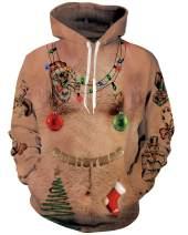 uideazone Men Women 3D Printed Plus Velvet Hooded Sweatshirt Casual Pullover Hoodie with Big Pockets