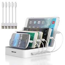 Charging Station for Multiple Devices, MSTJRY 5 Port Multi USB Charger Station with Power Switch Compatible with iPhone, iPad, Cell Phone, Tablets (White, 5 Mixed Short Cables Included)