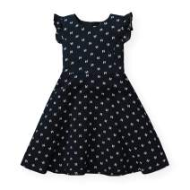Hope & Henry Girls' Flutter Sleeve Fit and Flare Dress