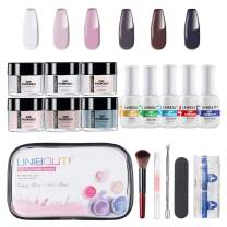 Dipping Powder Nail Starter Kit - Nude Gray 6 Colored Dip Powder System Nail Kit, Acrylic Dipping System for French Nail Manicure Nail Art Set Essential Kit All-in-One Portable Travel kit (P-01)