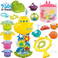 PUSITI Bath Toys for Toddlers 17 Pieces Bathtub Swing Pool Toys for Baby Boys and Girls Water Station Silicone Ocean Animals Stacking Cups Fishing Net Organizer Safety Bathroom Toys Set for Kids
