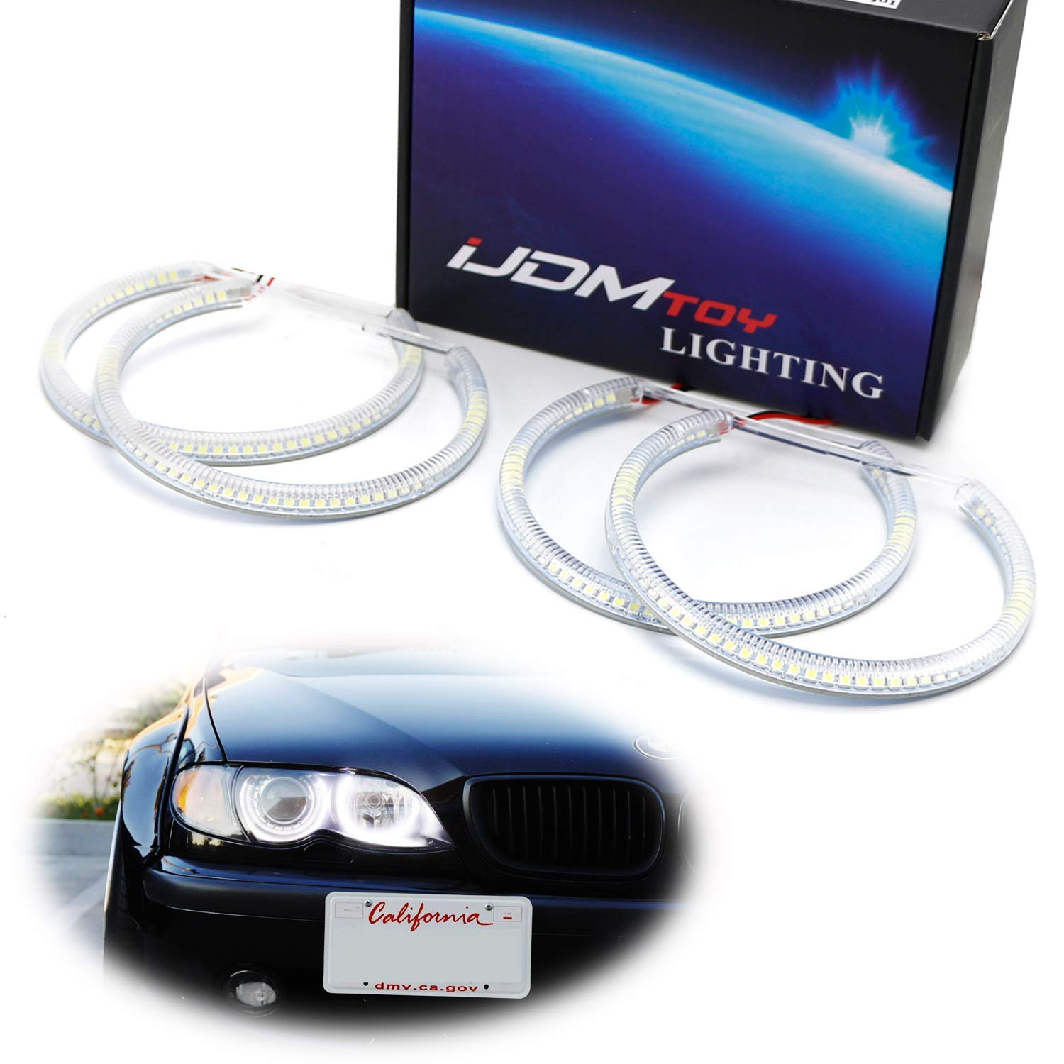 iJDMTOY 7000K Xenon White 264-SMD LED Angel Eyes Halo Ring Lighting Kit Compatible With BMW E36 E46 3 Series E39 5 Series E38 7 Series with Adaptive Xenon HID Headlight
