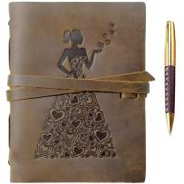 Genuine Leather Journal for Women To Write In   Travel Gift Notebook For Girls   Lady in Heart Dress of Hearts A5 Handmade Travel Diary   Antique Soft Vintage Writing Notebook 6x8 Unlined Paper + Pen