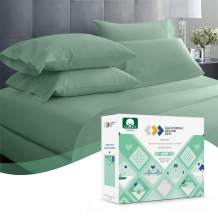 600 Thread Count Best Sheets 100% Cotton Sheets - Sage Green Extra Long-Staple Cotton Queen Sheet for Bed, Fits Mattress 16'' Deep Pocket, Breathable & Silky Sateen Weave 4 Piece Sheets Set