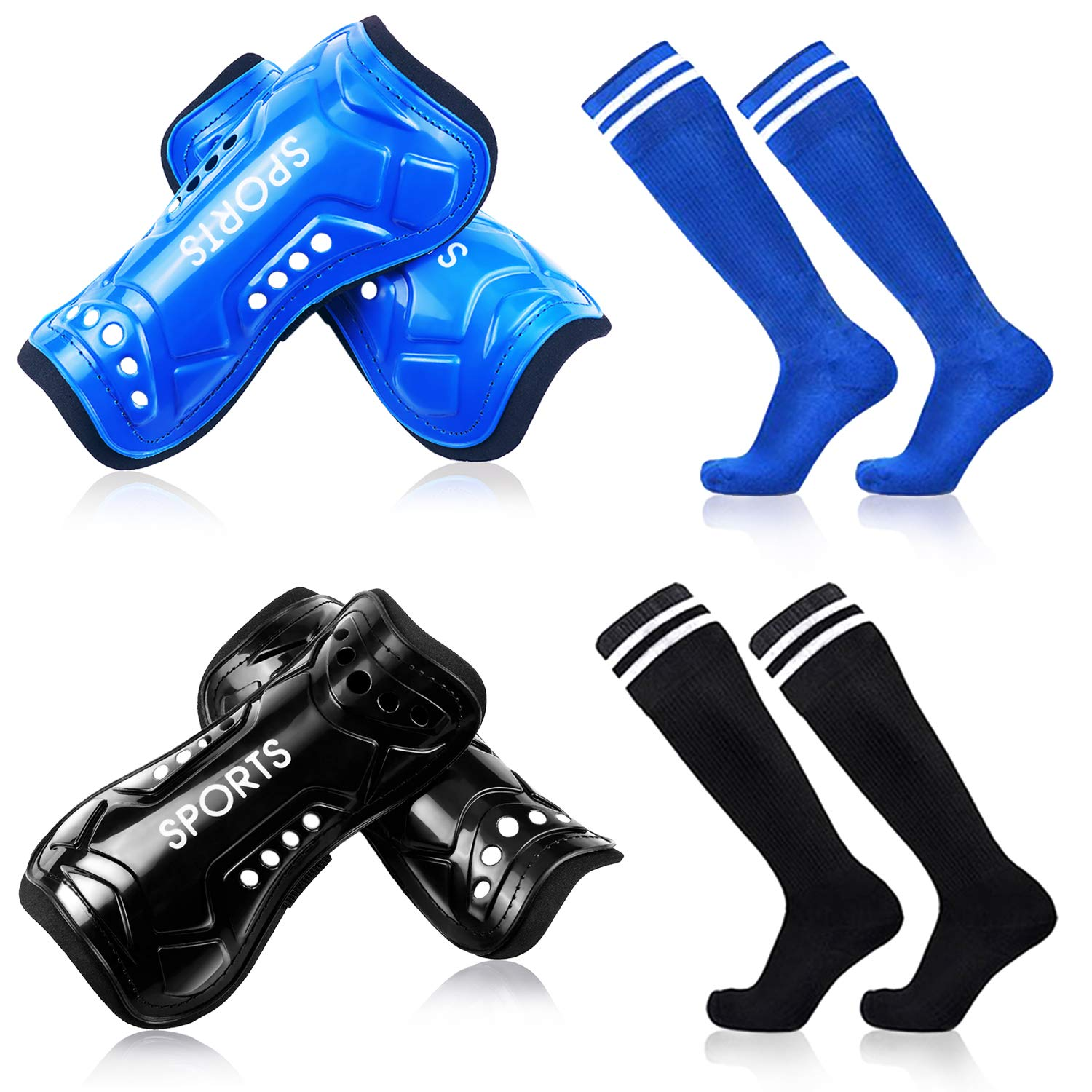 Youth Soccer Shin Guards, 2 Pair Lightweight and Breathable Child Calf Protective Gear Soccer Equipment for 12-16 Years Old Boys Girls Children Teenagers