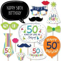 Big Dot of Happiness 50th Birthday - Cheerful Happy Birthday - Colorful Fiftieth Birthday Party Photo Booth Props Kit - 20 Count
