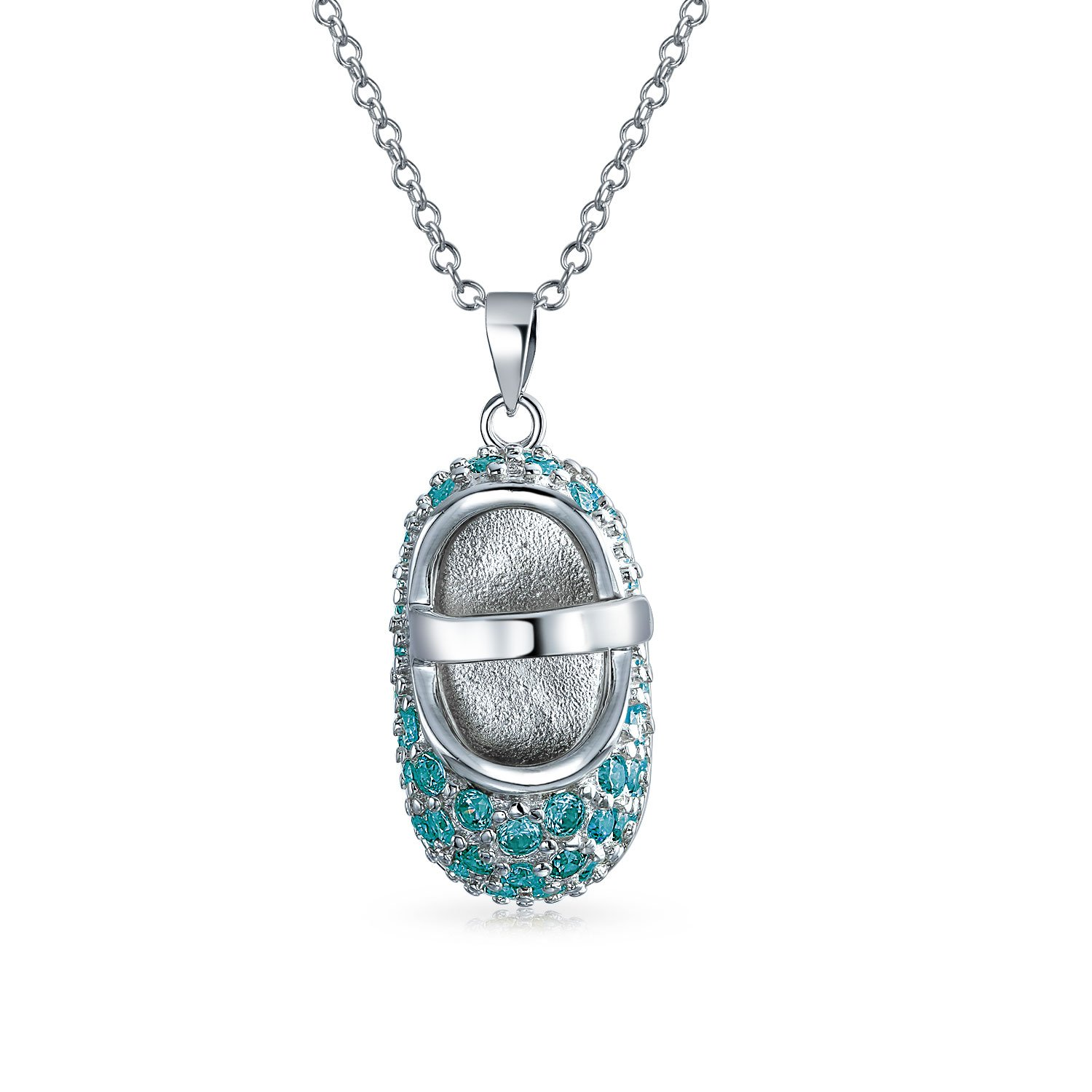London Blue Pave CZ Baby Shoe Pendant Necklace For Women Charm Simulated Topaz Cubic Zirconia 925 Sterling Silver