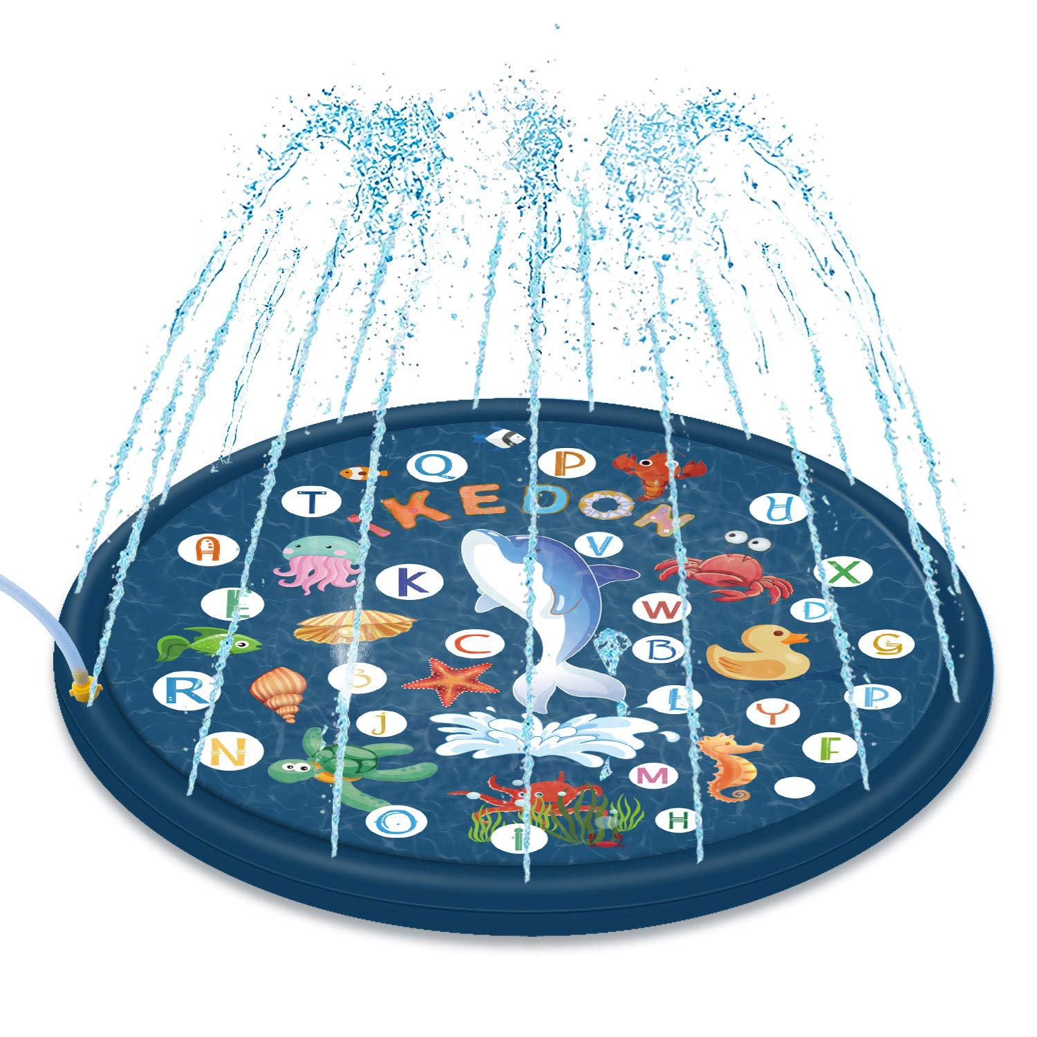 ikedon 68'' Sprinkler for Kids, 3-in-1 Splash Pad, from A to Z Toddler Pool for Wading Swimming and Learning, Inflatable Outdoor Water Toys Fun for 1 2 3 4 5 Year Old Toddlers, Kids, Boys and Girls