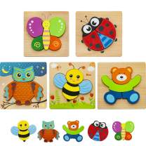 HZONE Wooden Jigsaw Puzzles for Toddlers 1 2 3 Years Old, (5 Pack) Early Educational Toys Gift for Boys and Girls with 5 Animals Patterns, Bright Vibrant Color Shapes