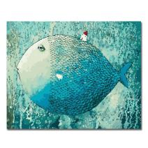 LIUDAO Paint by Number Kit for Adults, Suitable for All Skill Levels 16x20 Inch - Fish Without Frame