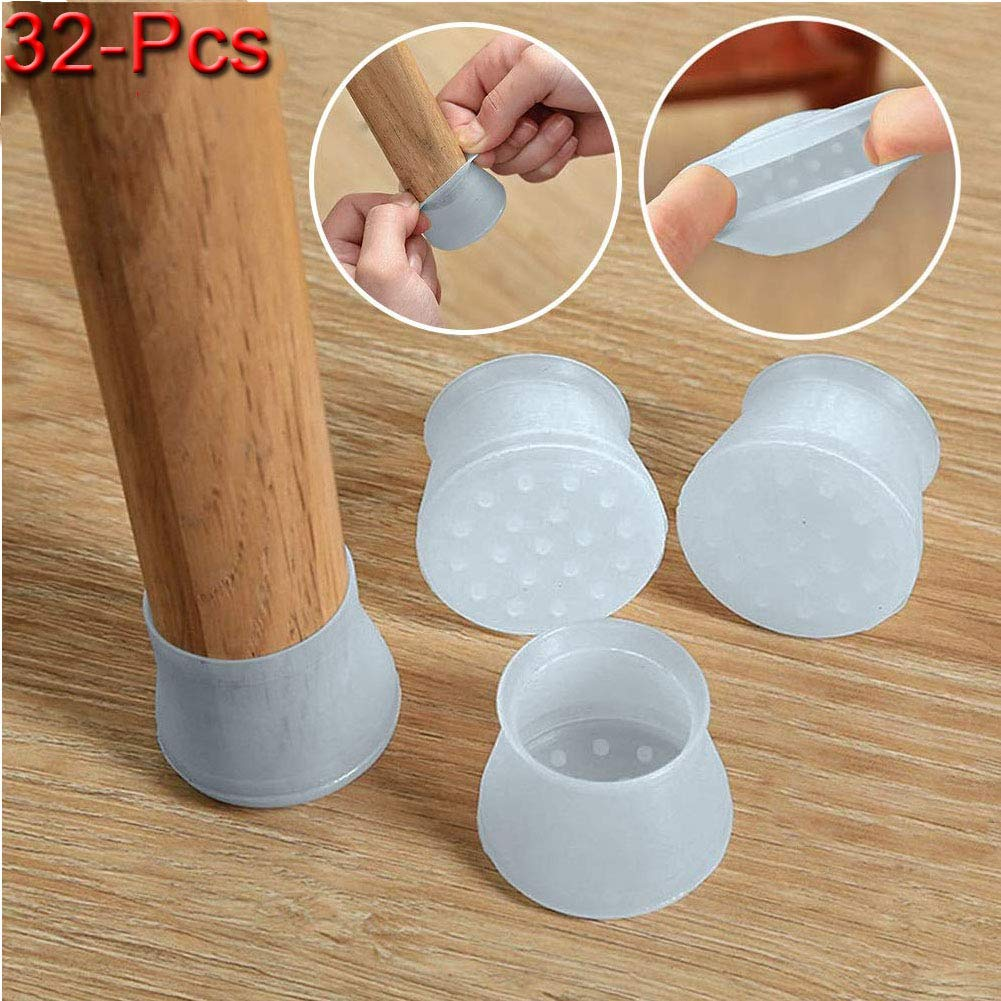 Furniture Silicon Protection Cover, Silicone Chair Leg Caps Silicone Floor Protector Round Furniture Table Feet Cover, Anti-Slip Bottom Chair Pads - Prevents Scratches and Noise (32, Light Blue)