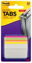 Post-it Tabs, 2 in. Angled Lined, Assorted Bright Colors, Durable, Writable, Repositionable, Sticks Securely, Removes Cleanly, 6 Tabs/Color, 4 Colors, 24 Tabs/Pack, (686A-1BB)