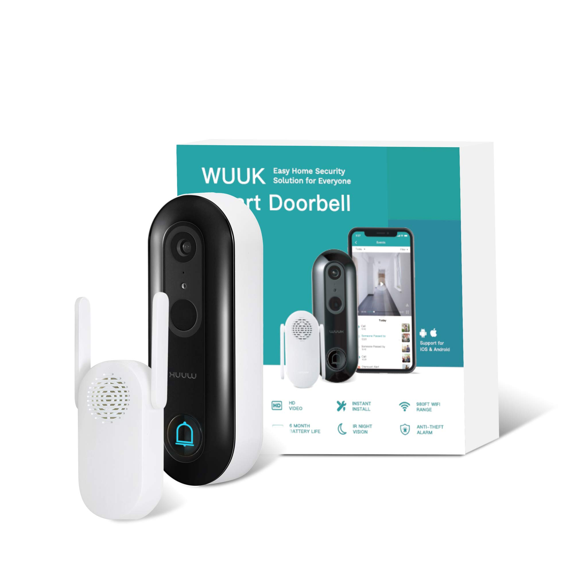 WUUK Video Doorbell Camera with Chime,Wireless Doorbell Camera (Battery-Powered), 1080p, No Monthly Fee, Human Detection, 2-Way Audio, IP65 Waterproof, Easy Installation, SDcard/Cloud Storage