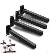 Shelf Brackets,Brackets for Shelves 8 Inch, Industrial Floating Bracket,Wall Mounted Heavy Duty Rustic Shelf Brackets, Decorative Shelving, Shelf Supports Black 4 Pack