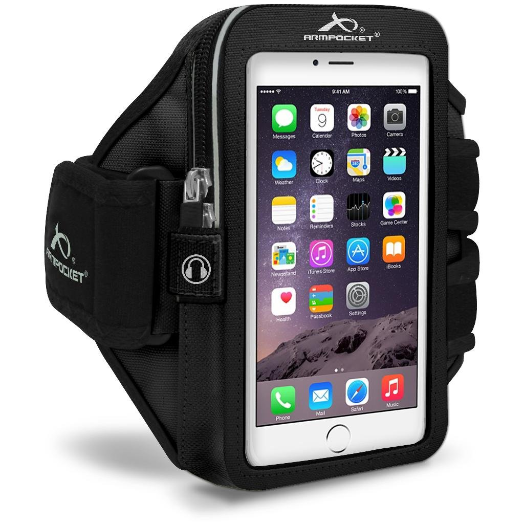 Armpocket Mega i-40 Armband, Black, Medium Strap for iPhone SE 2020, 11, 11 Pro, XS, XR, X, 8, Galaxy S20, Note 10, S10, S10e, Pixel 4, 3, 2 and Pixel 4 XL, 3a XL or Phones and Cases up to 6.5 Inches
