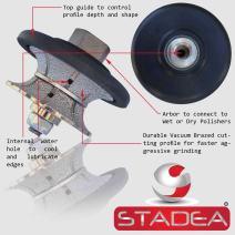 """STADEA Diamond Profile Wheel/Profile Grinding Wheel Full Bullnose 25 MM 1"""" high for Grinder Polisher Tile Granite marble Concrete Shaping/Diamond Profiling"""