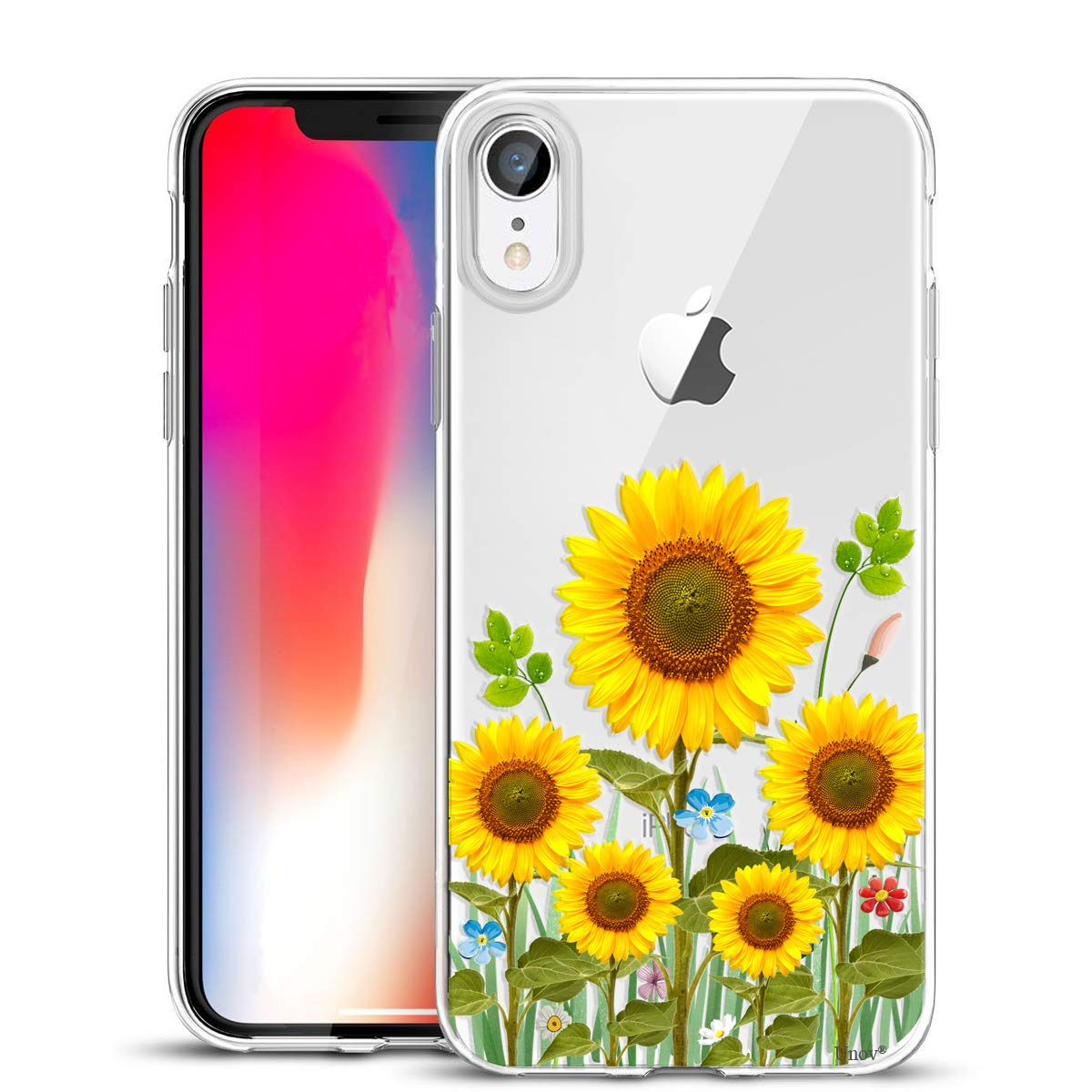 Unov Case Clear with Design Slim Protective Soft TPU Bumper Embossed Flower Pattern [Support Wireless Charging] Cover for iPhone XR 6.1 Inch(Sunflower Blossom)