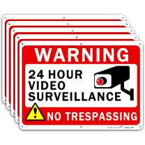 """Video Surveillance Sign TOHAO 5 Pack No Trespassing Warning Signs 10"""" x 7"""" UV Printed Waterproof Reflective .04"""" Aluminum for Outdoor Security Camera"""