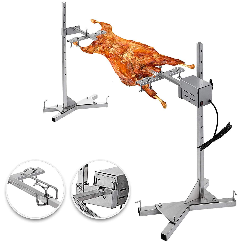 "VEVOR BBQ Rotisserie Kit 60-90LB Pig Spit Rotisserie Grill 25W Universal Rotisserie Kit for Grill 48"" Pig Rotisserie Motor Kit Heavy Duty for Pig Rotisserie Hog Lamb"