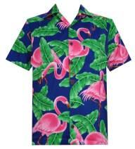 Hawaiian Shirts for Men 52 Flamingo Printed Aloha Tropical Holiday Beach wear Blue