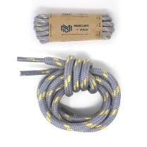 Honey Badger Work Boot Laces Heavy Duty W/Kevlar - USA Made Round Shoelaces for Boots - Gray Nat