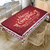 """Christmas Printed Fabric Tablecloth,Oil-Proof and Waterproof Rectangle Table Cloth, Durable and Decorative Table Cover for Christmas and Thanksgiving (55""""x94"""", Seats 6-10 People, NO.S006)"""