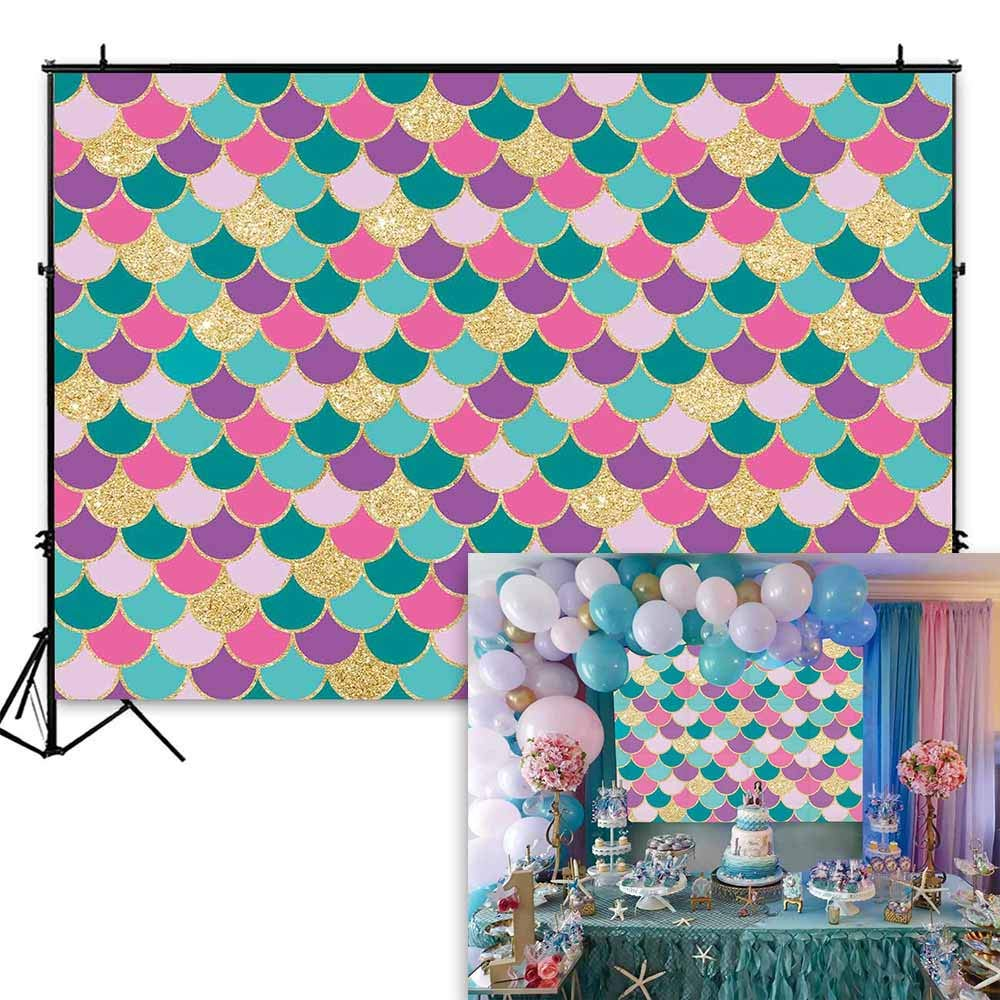 Funnytree 7x5ft Little Mermaid Purple Pink Scales Backdrop for Birthday Party Glare Glitter Princess Girl Photography Background Baby Shower Decorations Cake Table Banner Photo Booth Studio Props