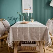 LINENLUX Striped Cotton Linen Tablecloth/Table Cover with Tassel Tan Rectangle/Oblong 55 X 99 in