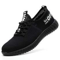 WOWSTICK Steel Toe Work Shoes, Indestructible Lightweight Slip on Slip Resistant Industrial Construction Footwear
