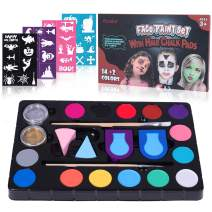 Frcolor Face Paint Kit for Kids – 40 Stencils, 16 Colors, 2 Brushes, 2 Sponges, 2 Hair Paint Tools – Body and Face Paint for Adults Christmas Party Gift Makeup Body Paint Supplies