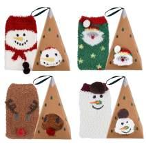 Aniwon Christmas Fuzzy Socks,4 Pairs Christmas Holiday Socks Soft Cozy Socks Warm Slipper Winter Socks for Women