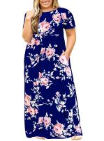Womens Plus Size Maxi Dresses Short Sleeve Causal Summer Floral Plain Loose T Shirts Long Dress with Pockets
