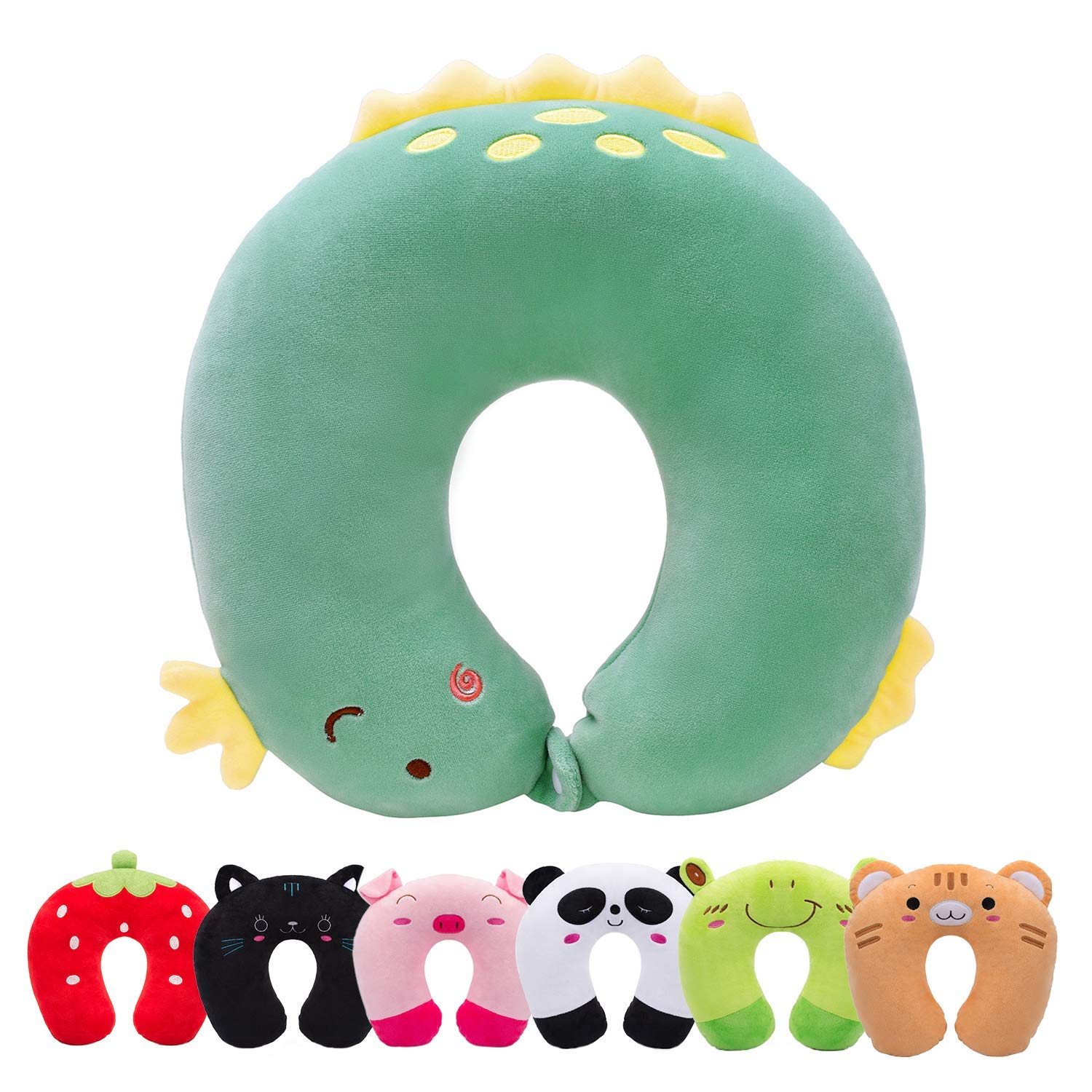 H HOMEWINS Travel Pillow for Kids Toddlers - Soft Neck Head Chin Support Pillow, Cute Animal in Any Sitting Position for Airplane, Car, Train, Machine Washable, Children Gifts (Green Dinosaur)