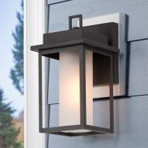"""LOG BARN Outdoor Wall Lantern, Modern Farmhouse Exterior Light Fixtures Wall Mount with Frosted Glass, Weather-Proof Black Outside Lights for Porch, Doorway, E26 Socket, 11""""H"""