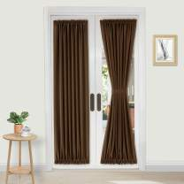 DWCN French Door Curtains – Rod Pocket Thermal Blackout Curtain for Doors with Glass Window, Kitchen and Patio Doors for Privacy, 25 X 72 Inches Long, 2 Curtain Panels with Tieback, Brown