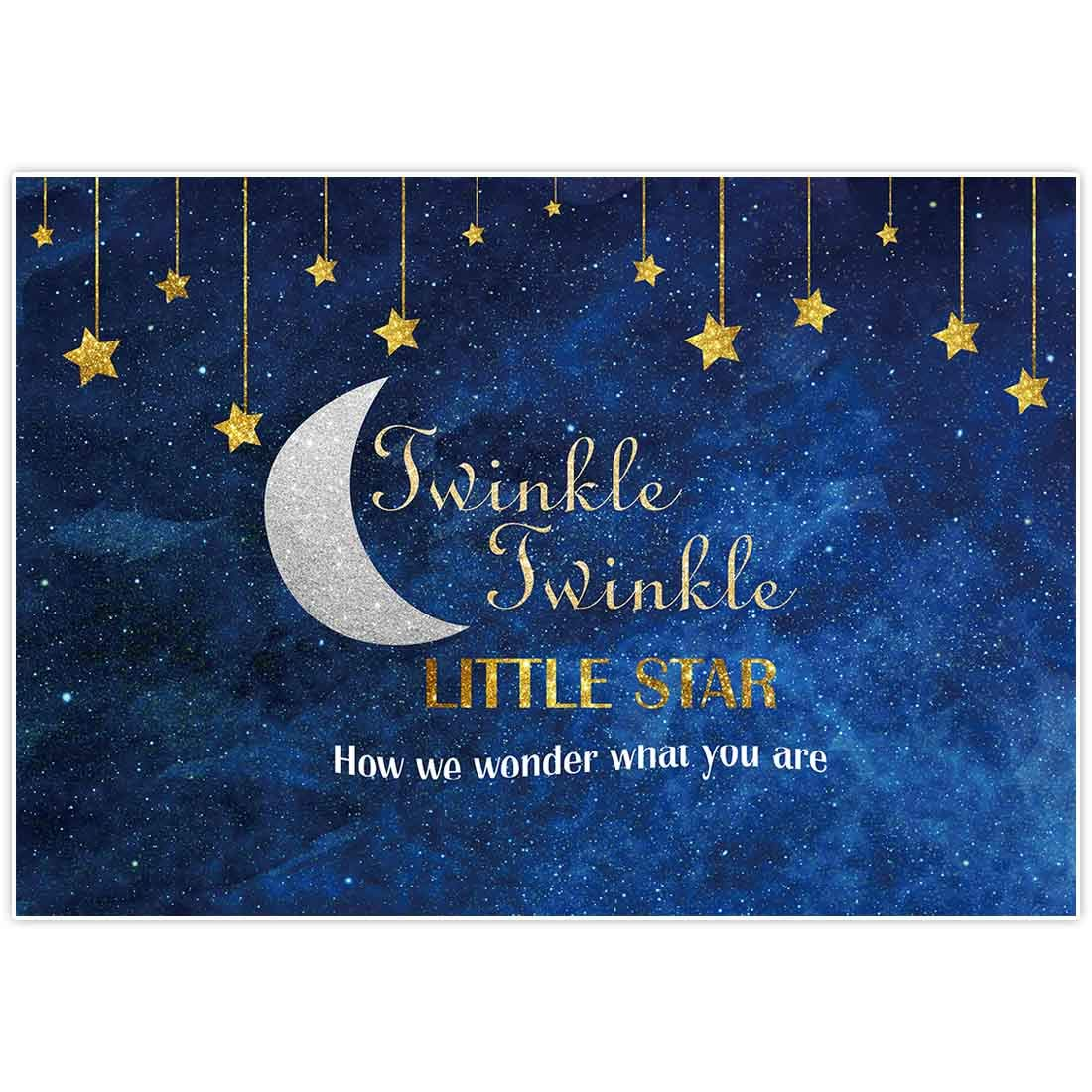 Allenjoy 7x5ft Photography Backdrop Background Twinkle Twinkle Little Star Gold Glitter Birthday Party Supplies Banner Newborn Gender Reveal Decorations Props Photo Booth Baby Shower Photocall